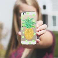 Pineapple and Greenie Dots - Transparent/Clear background iPhone 5s case by Lisa Argyropoulos | Casetagram
