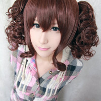 35cm short synthetic heat resistant curly BROWN lolita wig ponytails,Colorful Candy Colored synthetic Hair Extension Hair piece 1pcs WIG-301C