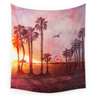 Society6 Sunset In Santa Monica Wall Tapestry