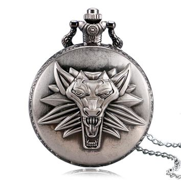 2017 Men Women Awesome Roaring Lion The Witcher 3 Wild Hunt Quartz Pocket Watch With Necklace Chain Unisex Steampunk Gift