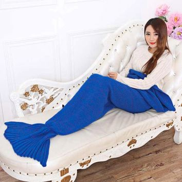 Yarn Knitted Mermaid Tail Super Soft Sleeping Bed Handmade Crochet Portable Adult Blanket