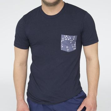 Navy Blue with Flying Birds Print Pocket Tee