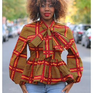 Women African Print Top Dashiki Long Sleeves Shirt