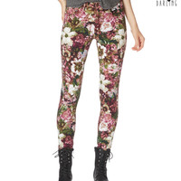 Tokyo Darling Womens Tokyo Darling High-Waisted Floral Print Jeggings,