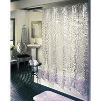 Walmart: Ex-Cell Home Fashions Disco Vinyl Shower Curtain, Silver