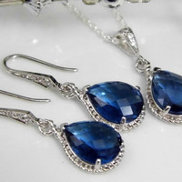 Sapphire Bridesmaids Jewelry, Navy Blue Wedding, Bridal Bridesmaids Necklace and Earring Set