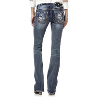 Miss Me Gold Sequin Border Boot Cut Jeans For Women 34 Inseam