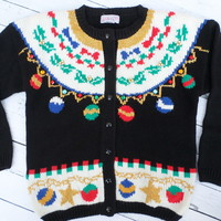 """Ugly Christmas Sweater"" Ornament Cardigan"