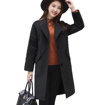 2018 Fashion single-breasted coat women coat female overcoat female medium-long spring autumn winter slim blend woolen outerwear