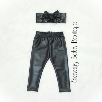 Black Faux Leather Leggings & Headband Set