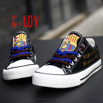Barcelona 2017 Cover For Men's Canvas Shoes Print Logo Casual Shoes Fans Hot Sale Painted Shoes Men Boys Big Size