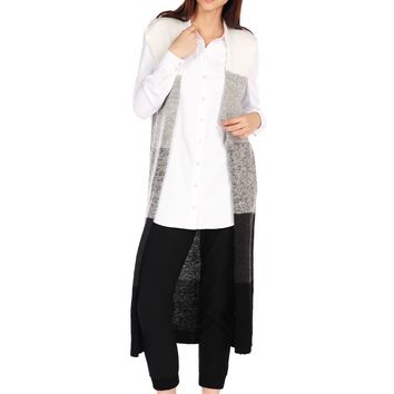 RD Style Sleeveless Color Block Cardigan