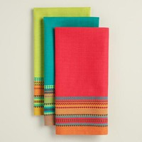 Embroidered Stripe Waffle Weave Kitchen Towels