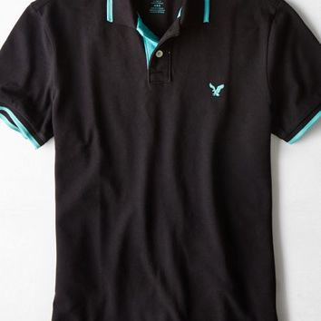 AEO Men's Tipped Polo (Bold Black)