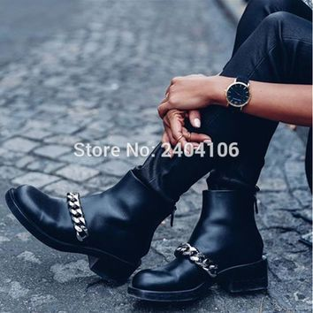 Fashion Zipper Women Booties Autumn Shoes Round Toe Low Chunky Heel Motorcycle Boot Black Leather Gold Silver Chain Ankle Boots