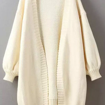Beige Puff Sleeve Long Cardigan