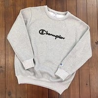 Champion Woman Men Fashion Round Neck Top Sweater Pullover