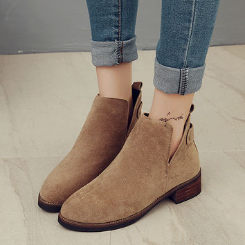 Hot Deal On Sale Matte Autumn England Style With Heel Round-toe Zippers Boots [9138742855]