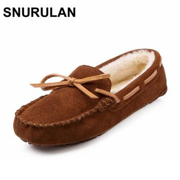 SNURULAN Winter Plush Boat Shoe Cow Leather Women Shoes Keep Warm Moccasins Shoes Woman Slip On Female Flats Fur Loafers