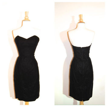Strapless Black Dress Scott McClintock Velvet Sweetheart Bust Little Black Dress Minimal Elegant Classic size Small