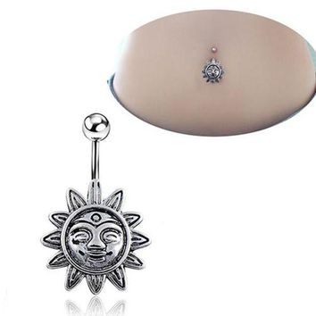 ac ICIKO2Q Sunflower Smile Face Belly Button Navel Bar Ring Barbell Body Piercing Jewelry