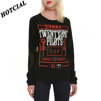 Sweatshirt New 2016 Twenty One Pilots Scales Print Black Pullovers Top Women Harajuku Tracksuits Sport Suits Mujer Hoodies