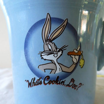 Warner Bros Bugs Bunny Fiesta Mug, What's Cookin' Doc, Homer Laughlin Warner Brothers Blue Fiestaware, Looney Toons Fiesta, Ring Handle Mug