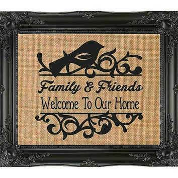 Burlap Print, Welcome To Our Home Sign, Family Sign, Home Decor, Front Entry, Housewarming Gift, Burlap Sign, FREE Priority Shipping!