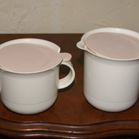 Vintage 1970s TUPPERWARE Creamer And Sugar Set With Lids White Body With Cream Color Lids Marked