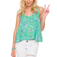 Dawn Floral Top - Mint