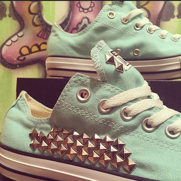 Custom Studded Beach Glass Mint Converse - Chuck Taylors - ALL SIZES & COLORS!