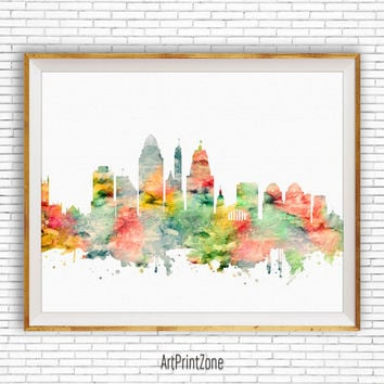 Cincinnati Art Print, Cincinnati Ohio, Cincinnati Skyline, Office Decor, Office Art, Watercolor Skyline, City Wall Art Print, ArtPrintZone