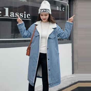 Trendy New 2018 Women Basic Coat Denim Jacket Women Winter Denim Jacket For Women Jeans Jacket Women Denim Coat loose warm long Jacket AT_94_13