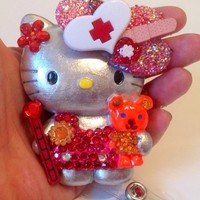 Sterling Silver Nurse Hello Kitty Id Badge Reel Holder Pendant