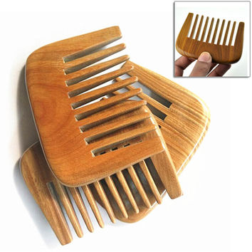 Handmade Wide Toothed Green Sandalwood Pocket Hair Comb Health Care Anti Static