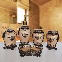 5pcs Resin Bathroom Set Liquid Soap Dispenser Toothbrush Holder Home Accessories Decoration Wedding gifts