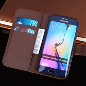 Flip Leather Wallet Slots Stand Case Cover For Samsung Galaxy S6 S6 Edge Samsung Galaxy S7 S7 Edge