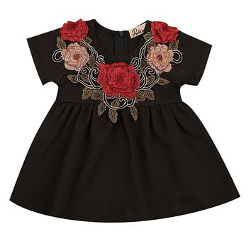 Infant Baby Girls Kid Princess Stereo Flowers Short Sleeve Party Floral Party Pageant Dress 6M-4T