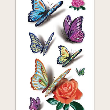 Butterfly & Rose Pattern Tattoo Sticker 1sheet