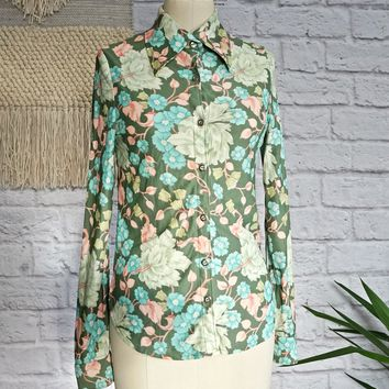 Vintage 1970s Nylon + Floral Dream Shirt