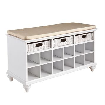 Spotless White Compact Entryway Bench with Rattan Drawers by Southern Enterprises