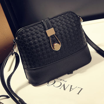 Black Leather Mini Crossbody Shoulder Handbag