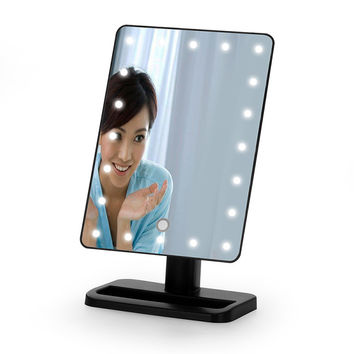 Ovonni Magnifying Black Mirror Tabletop LED Lighted Makeup Mirrors Touch Screen 180 Degree Free Rotation Movable Cosmetic Mirror