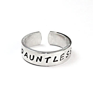 Dauntless Ring, Divergent Inspired Rings, The Brave Ring, Hand Stamped Aluminum Ring, Two Sides Stamped Rings