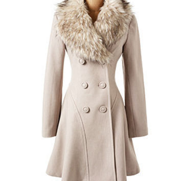 Faux Fur Trim Coat Sand - Dress Coats - COATS - Jessica Simpson Collection
