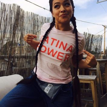 LATINA POWER Red Graphic Letter T-Shirt Women Crewneck Casual Cotton Tees Tumblr Girl Pink Aesthetic t shirt Hipster funny Tops