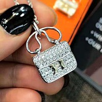 Hermes Cute Women Chic Diamond Bag Type Necklace Accessories Jewelry Silvery