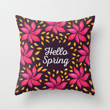 Hello Spring Watercolor Flowers Wreath Throw Pillow by borianagiormova