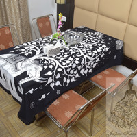 Indian Cotton Table Cloth Black Color Tree Elephant Print Table Cover Tapestry Wall Hanging TC48