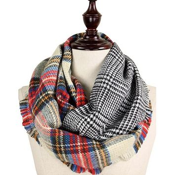 .Reversible Plaid/Houndsooth Infinity Scarf
